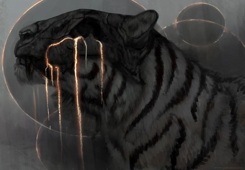 e926 2018 digital_media_(artwork) feline feral fur greyscale jademere mammal monochrome solo striped_fur stripes teeth tiger white_fur