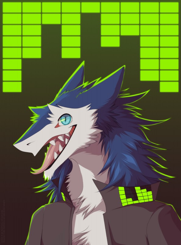e926 2016 absurd_res anthro blue_eyes blue_fur clothed clothing equalizer fluffy_hair forked_tongue fully_clothed fur hi_res jacket looking_at_viewer male multicolored_fur neck_tuft nehmen open_mouth sergal sharp_teeth sidgi slit_pupils smaller_version_at_source smile solo standing teeth tongue tongue_out tuft two_tone_fur white_fur