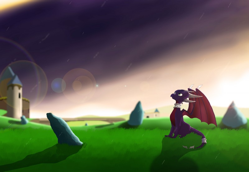 e926 absurd_res cynder digital_media_(artwork) dragon female feral grass hi_res horn lagartuzmems1998 membranous_wings outside rock scalie solo spyro_the_dragon video_games western_dragon wings