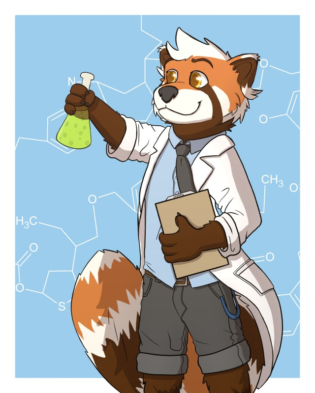 e926 absurd_res black_nose chemistry clipboard clothing fur_pattern hair hi_res jakemi lab_coat male mammal necktie red_panda science scientist shirt shorts solo underwotter white_hair yellow_eyes