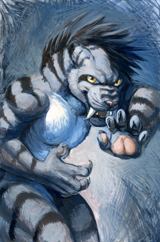 e926 2018 5_fingers anthro black_hair black_lips claws feline hair hi_res hibbary mammal saber-toothed_cat solo yellow_eyes