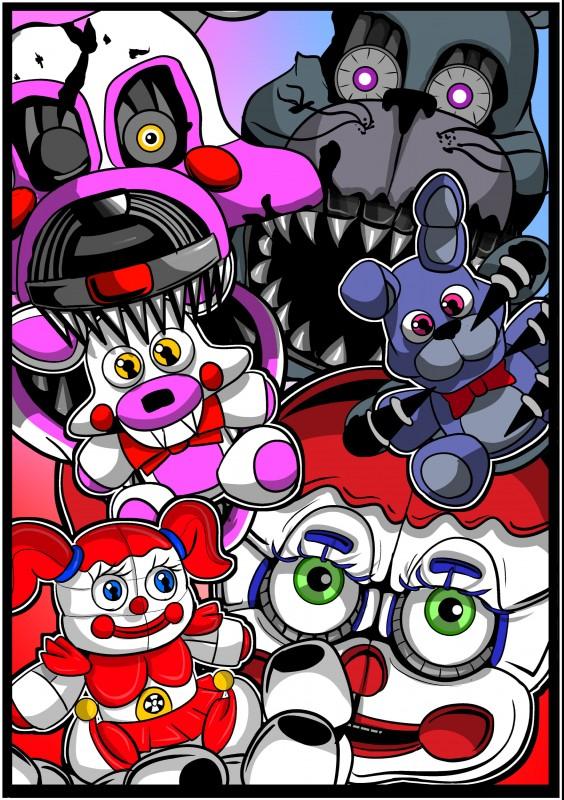 e926 2018 absurd_res animatronic anthro baby_(fnafsl) bonnie_(fnaf) canine digital_media_(artwork) female five_nights_at_freddy's five_nights_at_freddy's_4 fox funtime_foxy_(fnaf) glowing glowing_eyes green_eyes group hi_res humanoid lagomorph machine male mammal nightmare_bonnie_(fnaf) nightmare_mangle_(fnaf) plushie rabbit robot shu_20625 simple_background sister_location teeth video_games