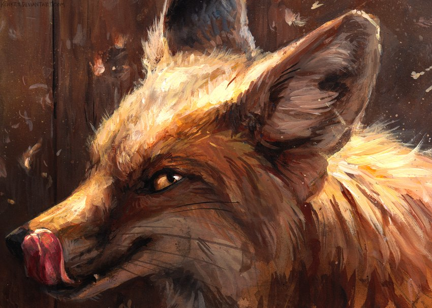 e926 2016 ambiguous_gender black_eyes black_fur black_lips black_nose brown_body brown_fur canine day detailed detailed_background fangs feral fox fur headshot_portrait inner_ear_fluff kenket licking licking_lips long_mouth looking_back looking_up mammal no_sclera orange_eyes orange_fur painting_(artwork) pink_tongue plank portrait red_fox side_view slit_pupils snout solo tongue tongue_out traditional_media_(artwork) whiskers white_fur wood