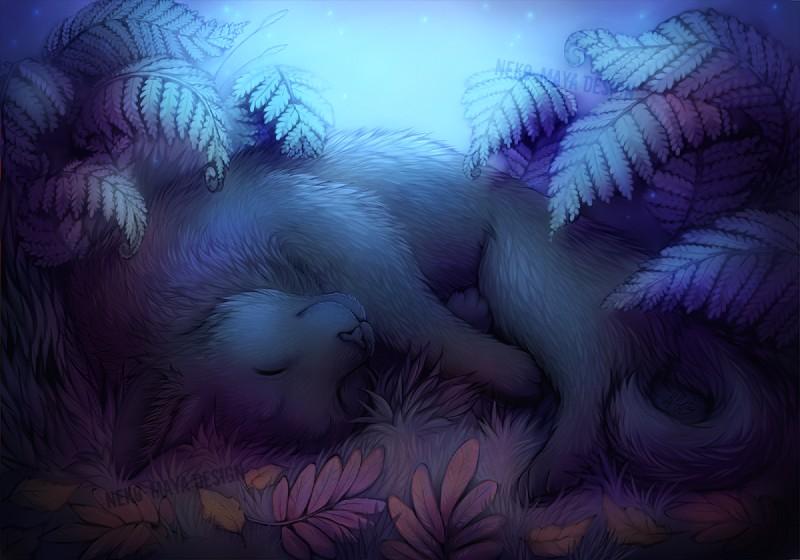 e926 2014 ambiguous_gender black_fur cat cute detailed_background digitigrade feline feral fur grass mammal neotheta sleeping smile solo