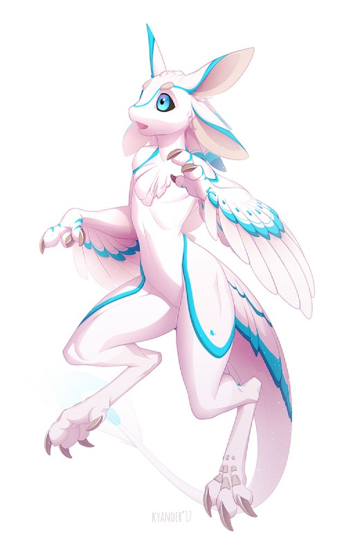 e926 2017 3_toes anthro avali blue_eyes digital_media_(artwork) digitigrade feathers featureless_crotch kyander male nude simple_background solo starbound toes video_games white_background white_feathers