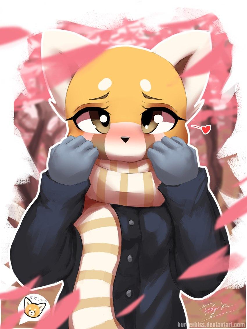 e926 2017 <3 aggressive_retsuko anthro black_nose blush burgerkiss clothed clothing female gloves hi_res looking_at_viewer mammal red_panda retsuko sanrio scarf solo