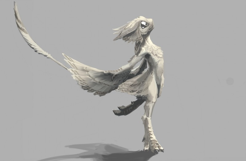 e926 ambiguous_gender anthro avali black_eyes claws digitigrade feathers grey_feathers hi_res long_tail looking_up ryuujinzero simple_background solo starbound video_games
