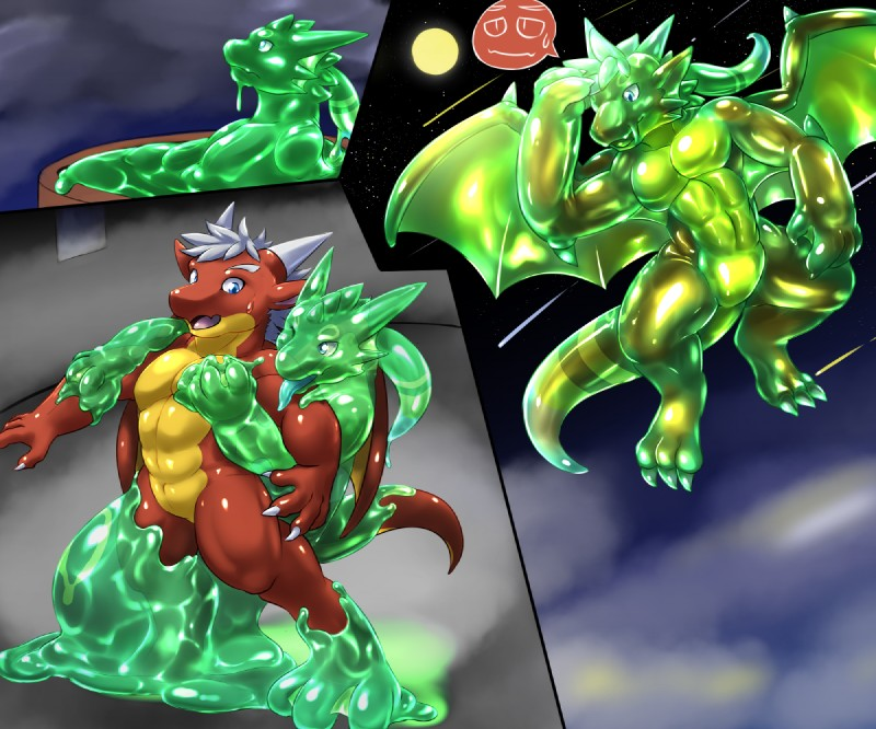 e926 abs claws danny dragon featureless_crotch flying fur furred_dragon goo_creature goo_transformation horn jello_(character) male muscular pecs tonde transformation
