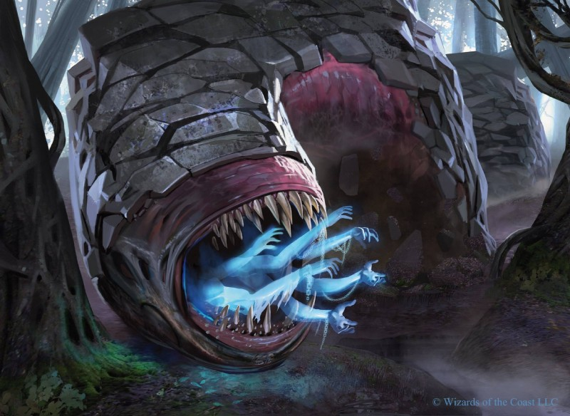e926 absorption_vore ambiguous_gender chain crawling disembodied_hand eyeless feral forest front_view hi_res magic_the_gathering marco_nelor official_art open_mouth scalie sharp_teeth snarling solo soul_vore teeth tree vore wurm