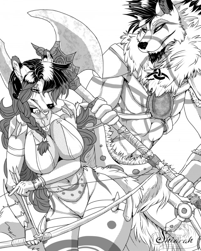 e926 absurd_res akajesse armor axe black_and_white bow_(weapon) braided_hair canine comic dire_wolf female fox hair hi_res male mammal manga melee_weapon monochrome ranged_weapon shiarah stovl warriors weapon wolf