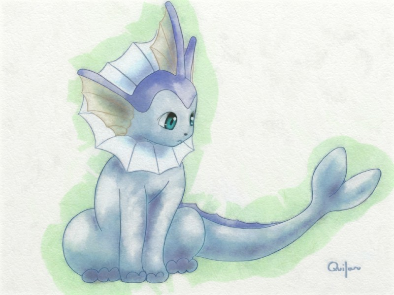e926 ambiguous_gender blue_eyes eeveelution feral nintendo pokémon pokémon_(species) quilaru11 signature simple_background solo vaporeon video_games