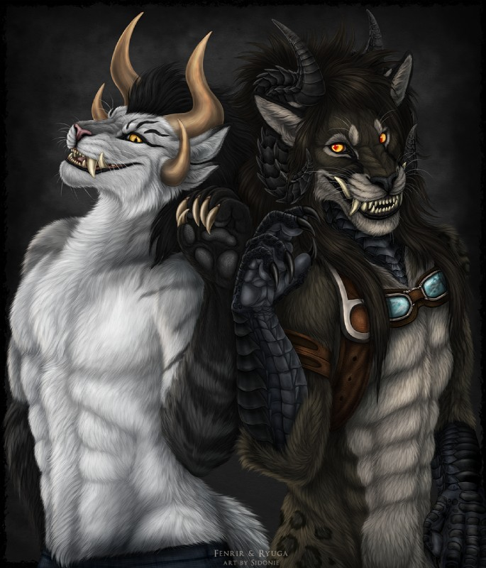 e926 2018 anthro black_fur black_hair charr chimera claws duo feline fur guild_wars hair hybrid male mammal orange_eyes sidonie smile video_games white_fur yellow_eyes