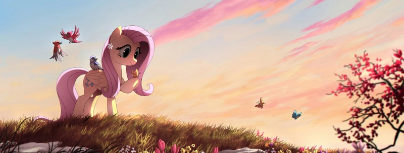 e926 avian bird blue_eyes cutie_mark day detailed_background equine eyelashes female feral fluttershy_(mlp) friendship_is_magic fur group hair hi_res hooves mammal my_little_pony outside pegasus pink_hair ruhje sky smile standing wings yellow_fur