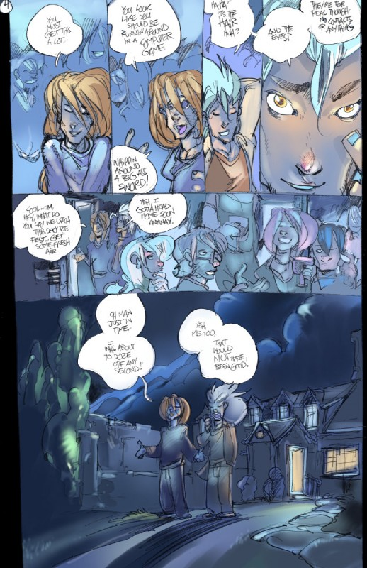 e926 comic dialogue digital_media_(artwork) english_text group hi_res human legend_of_the_werehorse male mamabliss mammal night outside party sky text