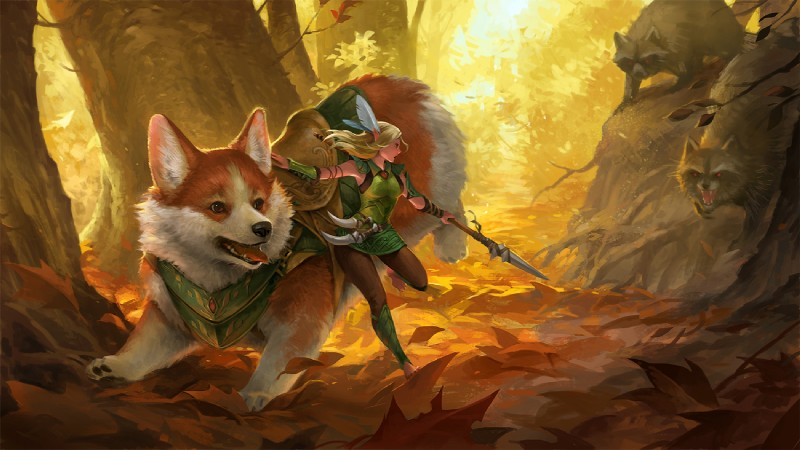 e926 2018 amazing_background ambush armor autumn black_nose blonde_hair bracers breasts brown_eyes canine clothed clothing corgi countershading crouching dagger day detailed_background dog elf fairy female feral feral_armor forest fully_clothed fur glowing glowing_eyes group hair hissing holding_object holding_weapon humanoid jumping leaves mammal melee_weapon mount nature open_mouth orange_fur outside pants pawpads paws polearm procyonid raccoon red_eyes riding roots running saddle sandara sharp_teeth spear standing teeth tongue tongue_out tree tunic vambraces weapon white_countershading yellow_theme