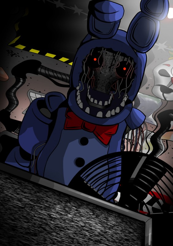 e926 2018 absurd_res animatronic bow_tie digital_media_(artwork) five_nights_at_freddy's five_nights_at_freddy's_2 glowing glowing_eyes hi_res lagomorph machine mammal rabbit robot shu_20625 simple_background video_games withered_bonnie_(fnaf)