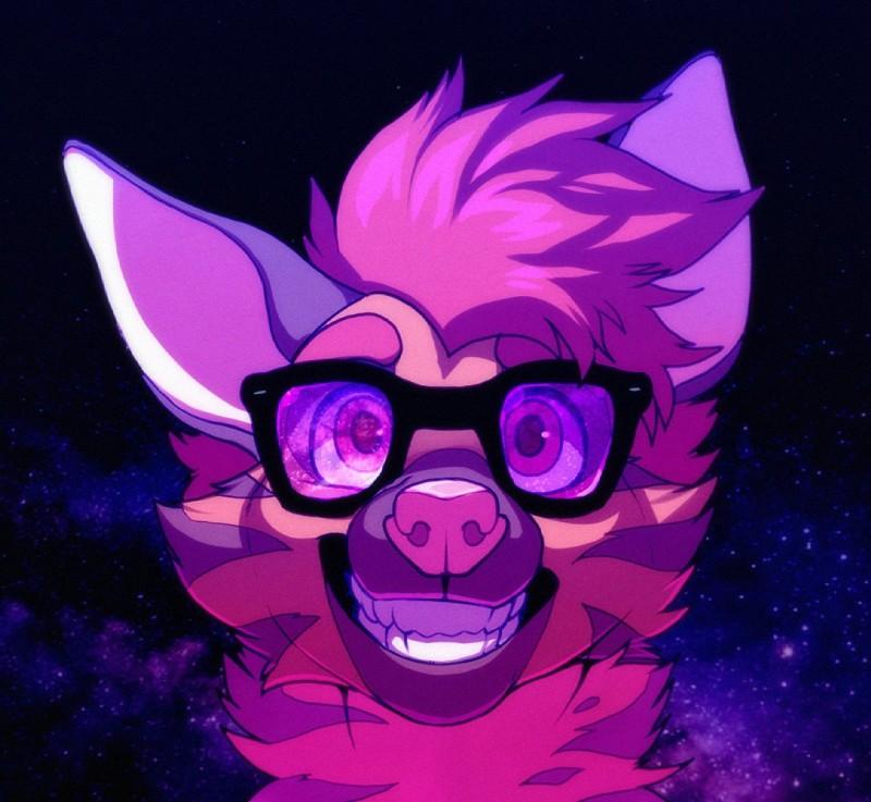 e926 ambiguous_form ambiguous_gender aycee eyewear fur glasses hair headshot_portrait hyena mammal markings pink_fur pink_hair pink_nose portrait purple_markings purple_stripes roanoak smile solo stripes