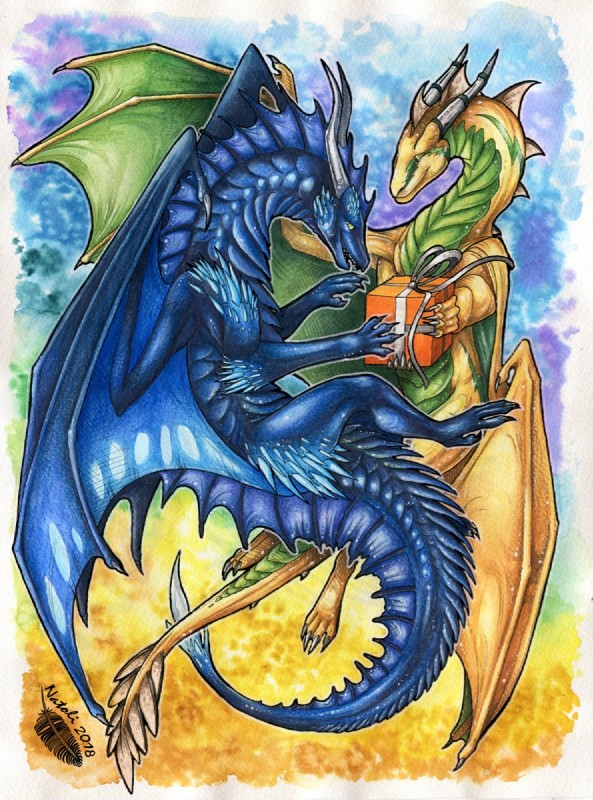 e926 2018 claws czero dragon duo feral green_eyes holding_gift holding_object horn membranous_wings natoli nidhoggr open_mouth scalie smile spines traditional_media_(artwork) western_dragon wings