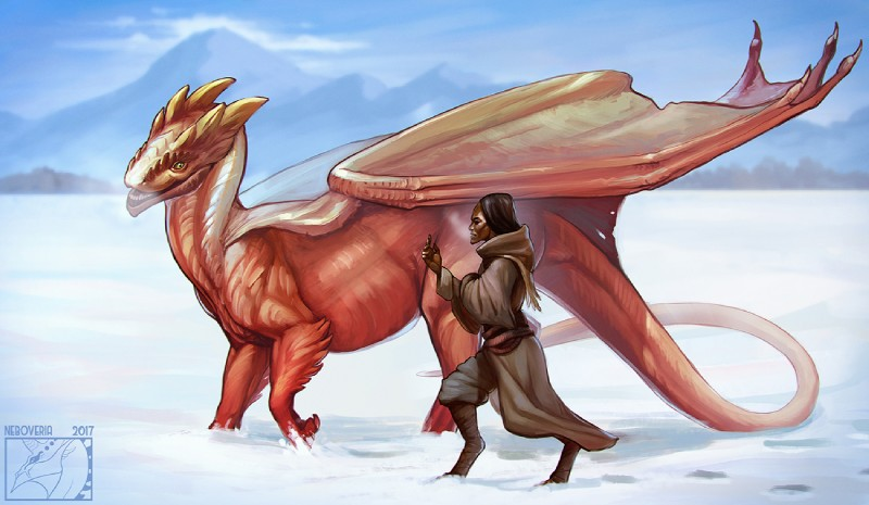 e926 2017 ambiguous_gender day detailed_background digital_media_(artwork) digitigrade dragon duo feral horn humanoid membranous_wings neboveria outside scalie sky snow western_dragon wings yellow_eyes