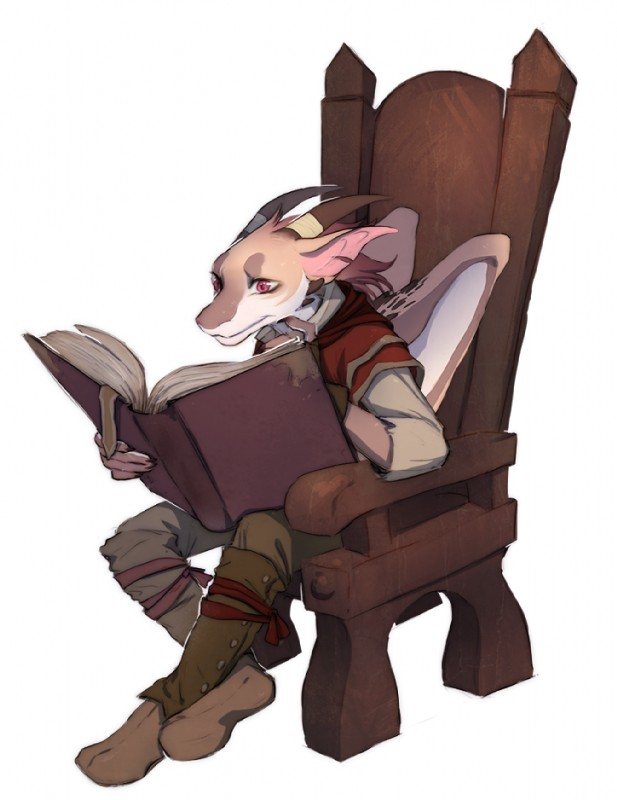 e926 anthro book boots brown_fur chair clothed clothing confusion cub dragon footwear fur furred_dragon gloves holding_book holding_object horn male misin_(frightened_shards) phylass reading red_eyes simple_background sitting solo wings wooden_chair young