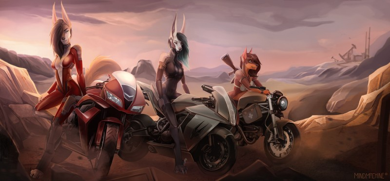 e926 2018 anthro breasts brown_hair canine clothed clothing coyote day detailed_background digital_media_(artwork) digitigrade female group hair jackal jessica_vega mammal mindmachine motorcycle outside rela sky standing tami vehicle