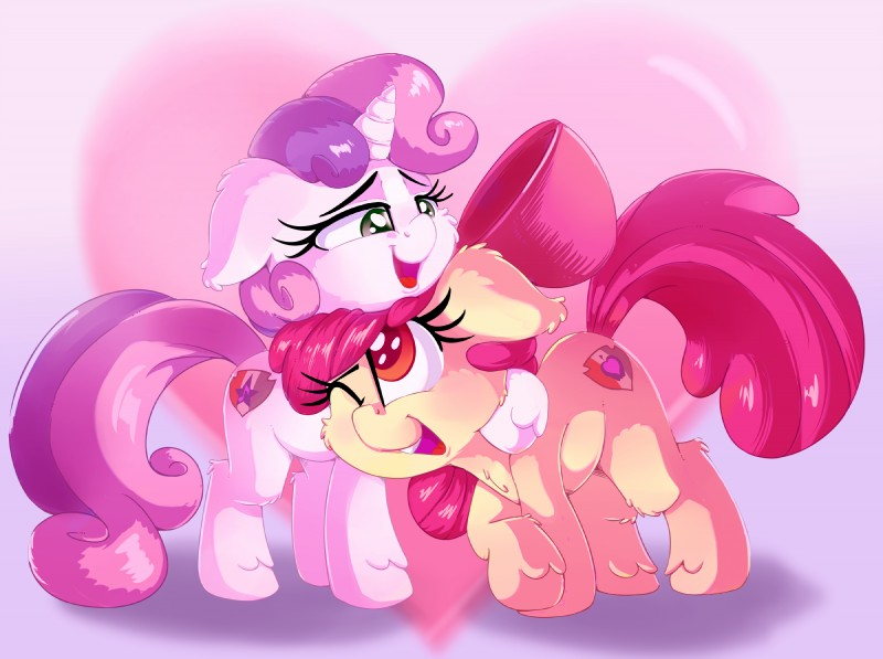e926 2018 apple_bloom_(mlp) cutie_mark digital_media_(artwork) duo earth_pony equine eyelashes female feral friendship_is_magic fur hair hi_res horn horse mammal multicolored_hair my_little_pony one_eye_closed open_mouth pony sweetie_belle_(mlp) thediscorded two_tone_hair unicorn young
