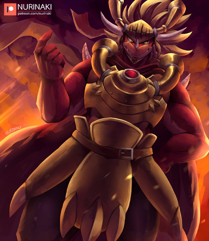 e926 anthro armor athletic beckoning biceps blonde_hair cape claws clothing digital_media_(artwork) dragon drum_(buddyfight) drum_bunker_dragon fangs future_card_buddyfight hair helmet horn long_hair looking_at_viewer male manly muscular muscular_male nurinaki orange_scales pose red_scales reptile scales scalie scarf smile smirk solo teeth yellow_eyes