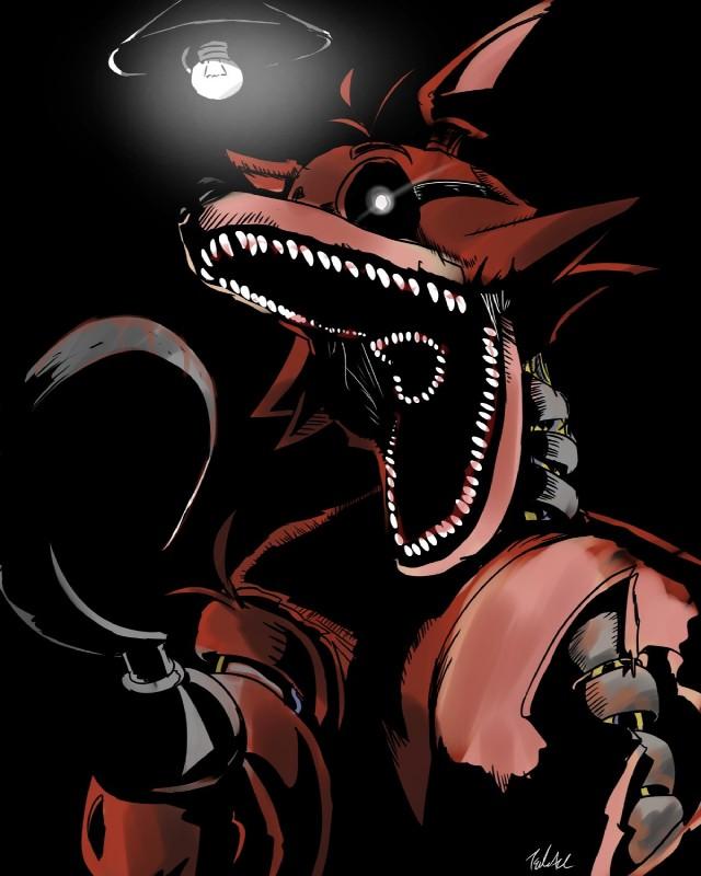 e926 2018 animatronic anthro blood canine digital_media_(artwork) five_nights_at_freddy's fox foxy_(fnaf) glowing glowing_eyes hi_res hook machine male mammal robot simple_background tsukazi video_games