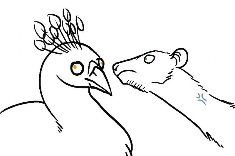 e926 2017 ambiguous_gender anger_vein avian beak bird black_and_white bust_portrait conditional_dnp crest duo feral green_eyes knotty_curls line_art long_neck looking_aside looking_at_another mammal monochrome norve orange_eyes peafowl portrait rat ratte rodent simple_background white_background