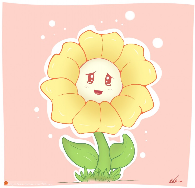 e926 2017 absurd_res flora_fauna flower flowey_the_flower hi_res looking_at_viewer neko-me not_furry patreon plant solo undertale video_games