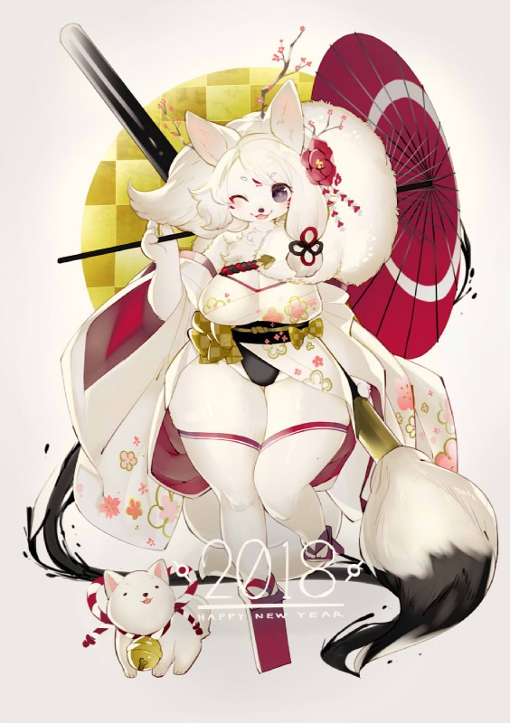 e926 2018 4_fingers 4_toes abstract_background amaterasu anthro asymmetrical_hair bell big_breasts black_eyes blush breasts canine chibiterasu cleavage clothed clothing deity duo facial_markings female feral flower flower_in_hair footwear fur geta hair hair_ornament holding_(disambiguation) holding_object holding_umbrella holidays japanese_clothing kemono kimono kishibe long_hair long_sleeves looking_at_viewer mammal markings new_year one_eye_closed open_mouth oversized_object paintbrush plant platform_footwear purple_eyes rope sandals short_stack smile solo tengu_geta toes umbrella video_games white_fur white_hair wide_hips year_of_the_dog Ōkami