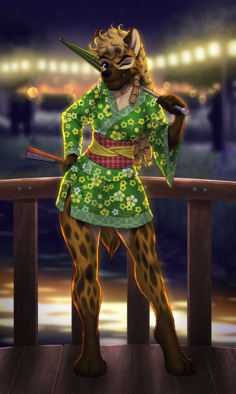 e926 2017 4_toes anthro barefoot black_nose brown_hair clothed clothing detailed_background digital_media_(artwork) digitigrade female green_eyes hair holding_object hyena japanese_clothing kimono looking_at_viewer mammal mykegreywolf smile solo toes