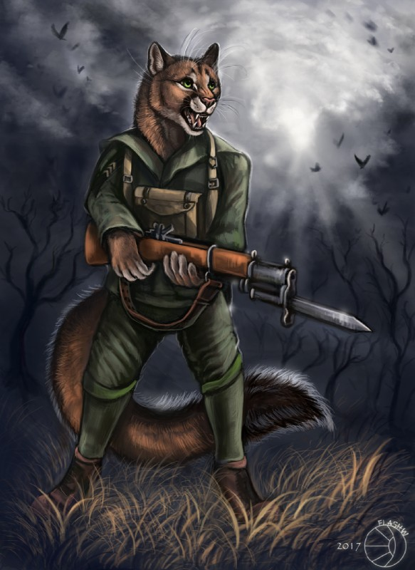 e926 2017 5_fingers ambiguous_gender anthro avian black_fur black_lips clothed clothing cloud cougar detailed_background dipstick_tail ear_markings facial_markings feline flashw flying fur grass green_eyes group gun hi_res holding_object holding_weapon humanoid_hands inner_ear_fluff long_mouth looking_up mammal markings motion_blur multicolored_tail no_sclera open_mouth pink_nose pink_tongue plant ranged_weapon shadow sky snout solo_focus standing sunbeam tan_fur teeth tongue tree weapon whiskers white_fur xavier_steele