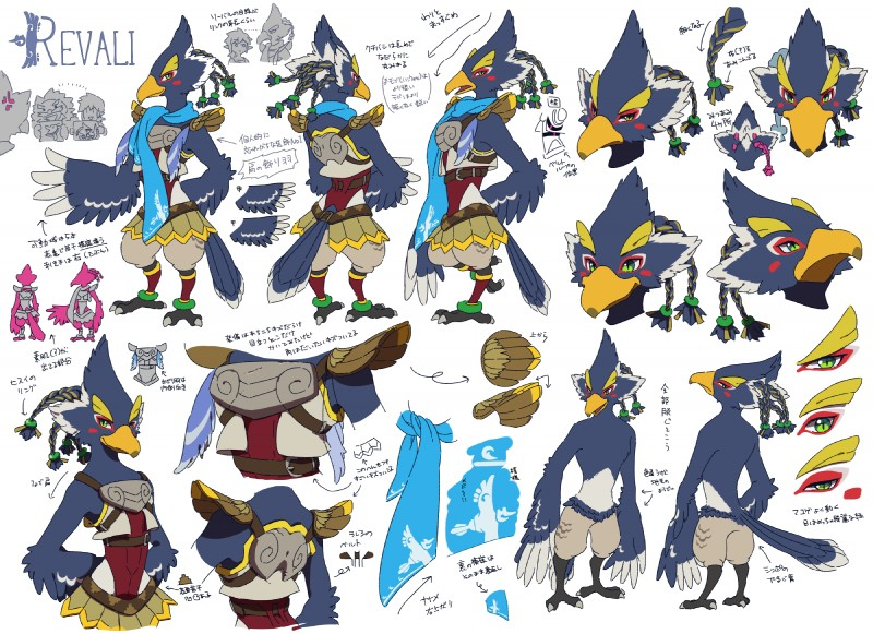 e926 anthro armor avian beak bird blue_feathers braided_hair breath_of_the_wild clothed clothing feathers green_eyes group hair half-closed_eyes hands_behind_back hi_res japanese_text looking_at_viewer male model_sheet multiple_poses ningukt nintendo nude open_mouth pose revali rito scarf side_view text the_legend_of_zelda topless translation_request video_games