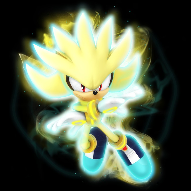 e926 3d_model boots bracelet clothing footwear fur glowing gold_fur hedgehog jewelry looking_at_viewer magic male mammal nibroc-rock nude red_eyes silver_the_hedgehog solo sonic_(series) yellow_fur