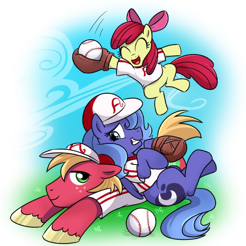e926 apple_bloom_(mlp) ball baseball_(ball) baseball_(sport) baseball_cap baseball_uniform big_macintosh_(mlp) blue_feathers brother clothing cub cutie_mark earth_pony equine feathered_wings feathers female feral friendship_is_magic group hat holding_ball horn horse madmax male mammal my_little_pony playing_baseball pony princess_luna_(mlp) sibling sister sport uniform winged_unicorn wings young
