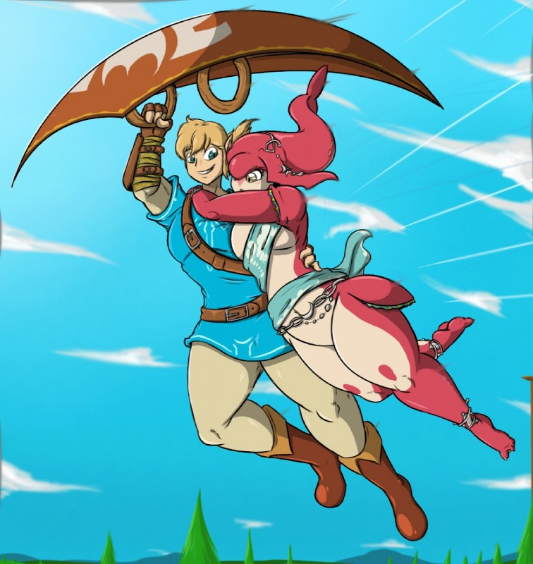 e926 amber_eyes anklet armor blue_eyes blush boots bottomless bracers breasts breath_of_the_wild claws clothed clothing duo featureless_breasts featureless_crotch flying footwear humanoid hylian jewelry link mipha nintendo open_mouth open_smile paraglider pointy_ears red_body shinysteel shirt skyscape smile the_legend_of_zelda toe_claws tree tunic video_games webbed_feet zora