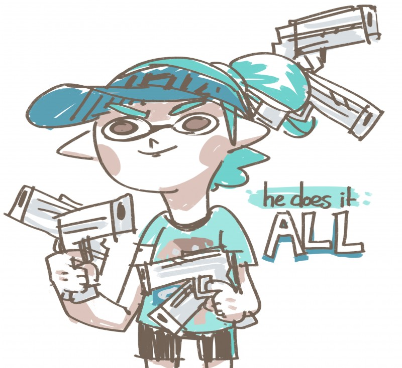 e926 absurd_res angry blue_hair brown_eyes canine cephalopod clothed clothing digital_media_(artwork) dog english_text flat_colors gun hair handgun hi_res holding_object humanoid inkling katribou male mammal marine meme nintendo ranged_weapon shirt shorts simple_background solo splat_tim splatoon squid t-shirt text video_games visor_cap weapon white_background