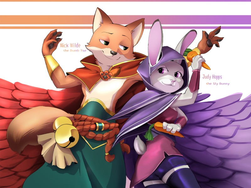 e926 2017 4_fingers anthro bell black_nose canine cape carrot cheek_tuft clothed clothing cosplay crossover disney duo female food fox fur green_eyes grey_fur half-closed_eyes hi_res holding_food holding_object judy_hopps lagomorph league_of_legends looking_aside male mammal nick_wilde orange_fur pink_nose purple_eyes rabbit rakan_(lol) riot_games simple_background small_tail smile tuft vegetable video_games white_background xayah_(lol) yoshifan30 zootopia