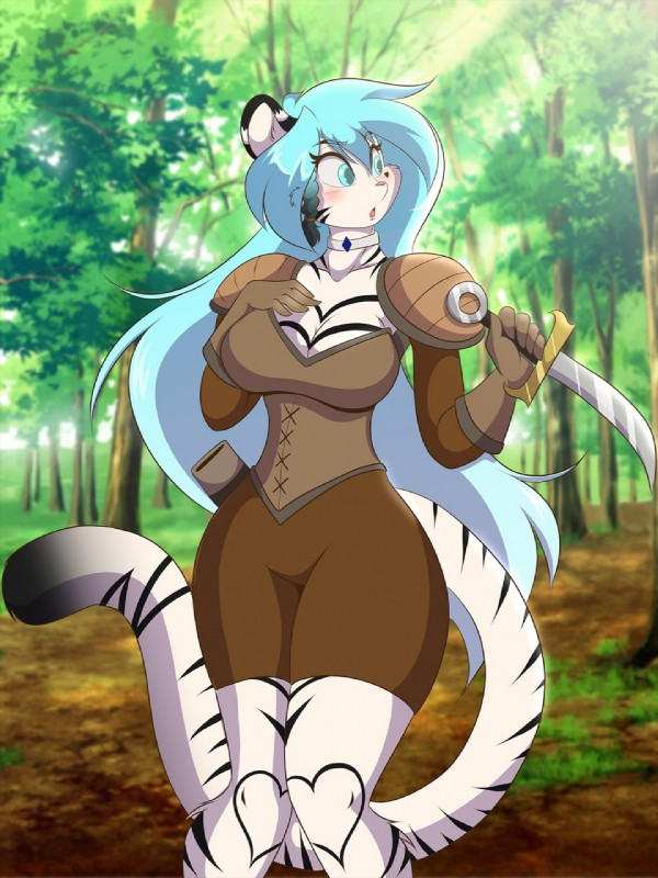 e926 2018 5_fingers <3 anthro armor big_breasts big_hair big_tail black_markings blue_hair blush breasts cleavage clothed clothing curvaceous dagger day feline female forest fur gloves hair hand_on_breast jewelry leather leather_armor long_hair long_tail mammal markings mastergodai melee_weapon nature necklace outside pigeon_toed shorts stripes thick_thighs tiger tree voluptuous weapon white_fur white_tiger wide_hips