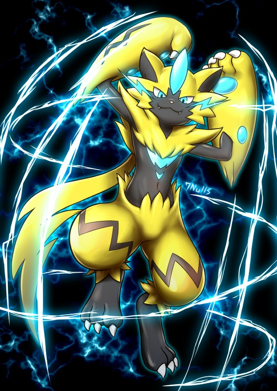 e926 2018 7nulls ambiguous_gender anthro black_fur blue_eyes blue_fur claws electricity fangs feline fur glowing looking_at_viewer mammal nintendo pawpads pokémon pokémon_(species) smile solo video_games yellow_fur zeraora