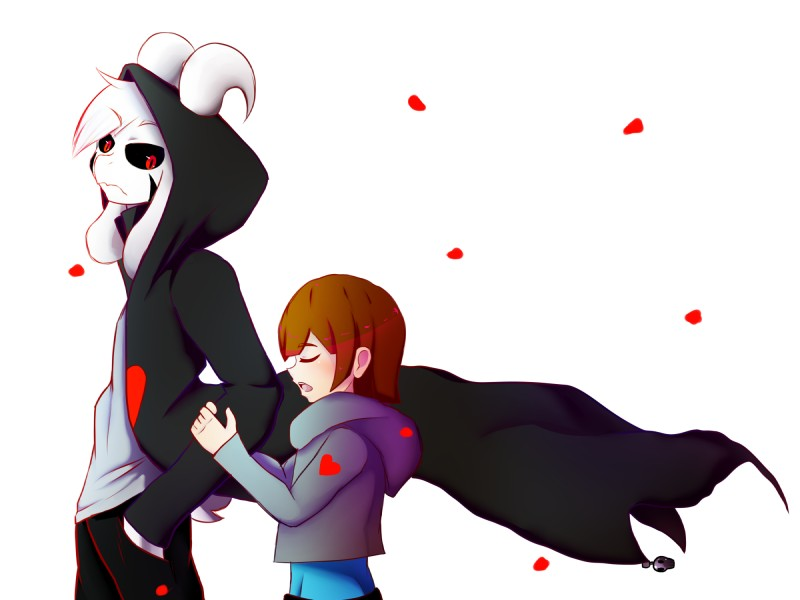 e926 2016 4:3 <3 ambiguous_gender anthro asriel_dreemurr black_sclera boss_monster caprine clothed clothing coat digital_media_(artwork) duo eyes_closed fur goat human mammal open_mouth pants protagonist_(undertale) red_eyes shirt simple_background trandafilov undertale video_games white_background white_fur