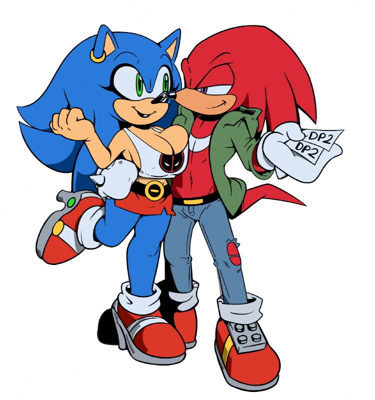 e926 belt big_breasts breasts cleavage clothed clothing crossgender cuisine female footwear high_heels jeans knuckles_the_echidna male male/female mammal miniskirt pants shoes simple_background skirt smile sonic_(series) sonic_the_hedgehog white_background
