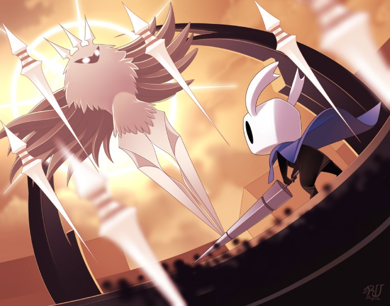 e926 ambiguous_gender anthro arthropod black_body detailed_background duo empty_eyes fur glowing glowing_eyes hollow_knight hollow_knight_(species) insect melee_weapon moth protagonist_(hollow_knight) radiance_(hollow_knight) rudragon weapon white_fur