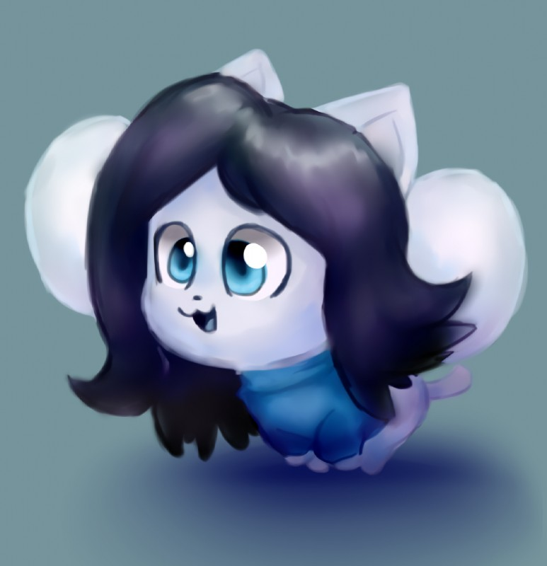 e926 big_eyes black_hair canine cat chibi clothing cookie-and-her-foxes cute dog feline fur hair happy mammal shirt sitting solo tem temmie_(undertale) undertale video_games white_fur
