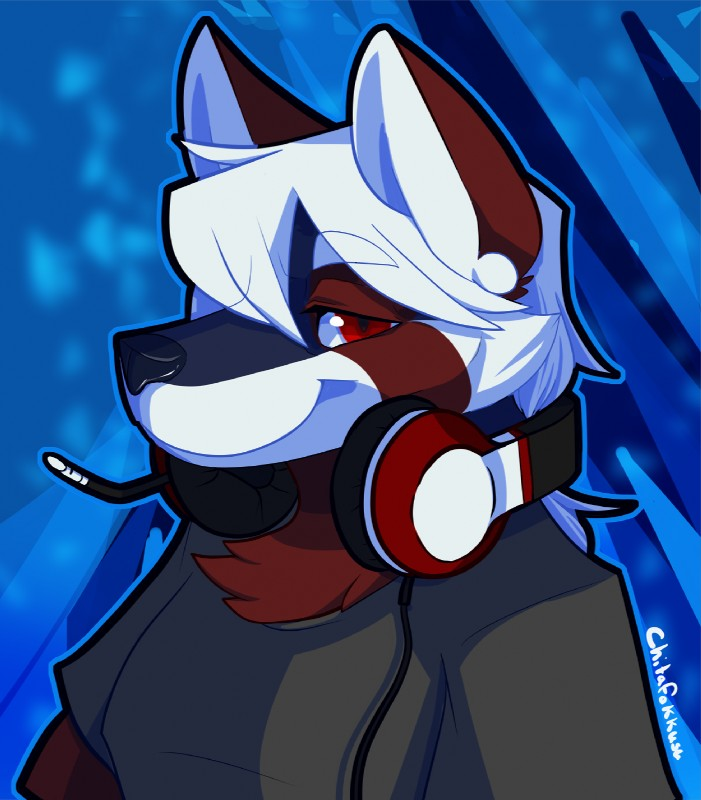 e926 2018 anthro black_shirt blue_background bust_(disambiguation) canine chest_tuft chitafokkusu clothing digital_media_(artwork) fox fur gamer hair half-closed_eyes headphones headshot_portrait inner_ear_fluff long_hair looking_at_viewer male mammal portrait red_eyes red_fur red_panda renaissance_vulpine_(character) simple_background smile solo tuft white_hair