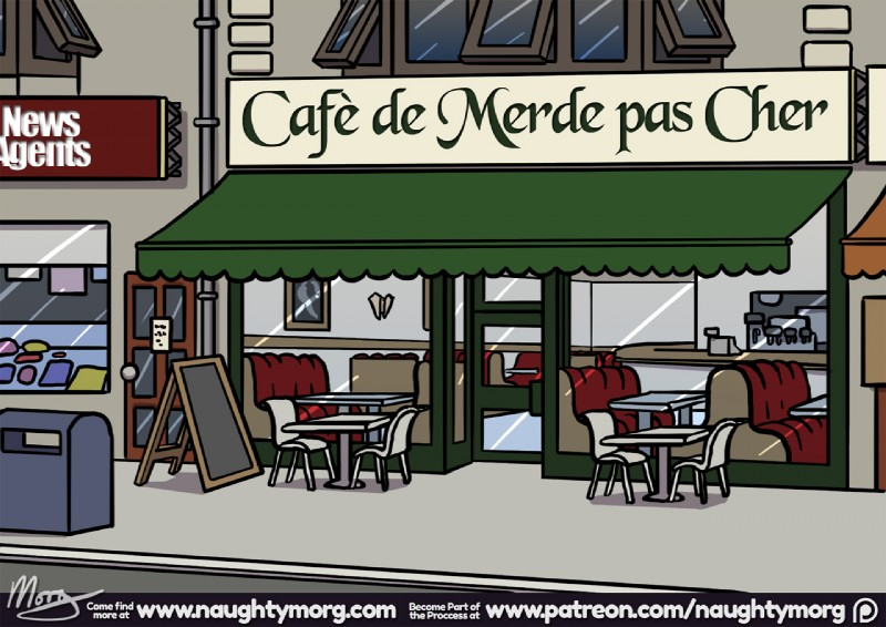 e926 building chair comic english_text french_text mailbox naughtymorg restaurant shop table text translated zero_pictured