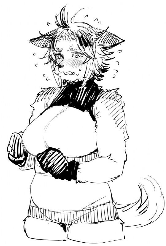 e926 anthro big_breasts blush breasts canine clothed clothing elf-san_wa_yaserarenai. female kemono mammal raika_(elf-san_wa_yaserarenai.) solo synecdoche