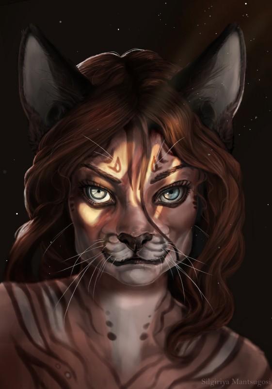 e926 anthro black_lips black_nose blue_eyes brown_hair bust_portrait feline female hair looking_at_viewer lynx mammal nude photorealism portrait silgiriya_mantsugosi solo sunbeam whiskers