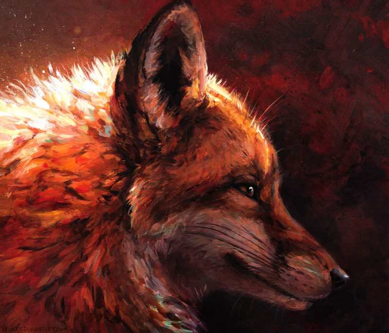 e926 2016 abstract_background ambiguous_gender black_fur black_lips black_nose brown_body brown_eyes brown_fur canine detailed feral fox fur glowing headshot_portrait hi_res inner_ear_fluff kenket long_mouth mammal no_sclera orange_fur orange_theme painting_(artwork) photorealism portrait red_fox red_theme shadow side_view slit_pupils snout solo traditional_media_(artwork) whiskers white_fur